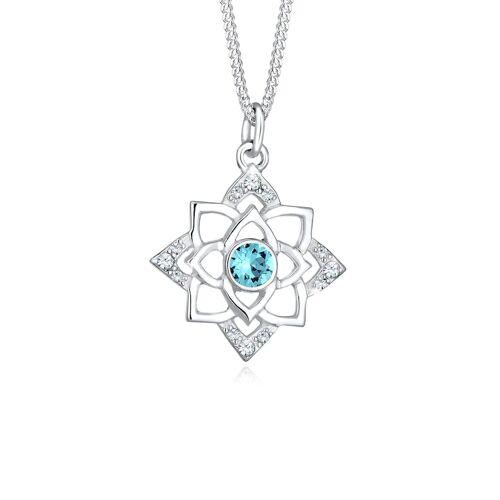 Elli Halskette Geburtsstein Lotus Kristalle 925 Silber Elli Hellblau