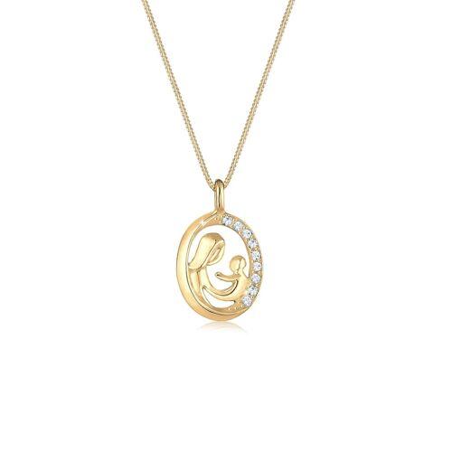 Elli Halskette Mutter Kind Figur Kristalle 925 Silber Elli Gold