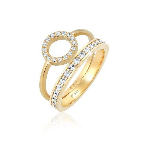 Elli Premium Ring Memorie Kreis Geo Kristalle 2Er Set 925 Silber Elli Premium Gold