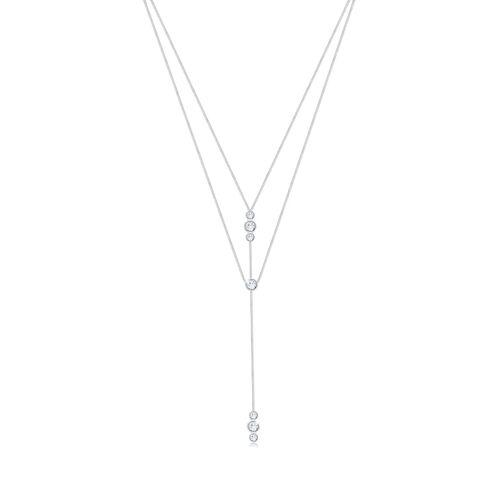 Elli Halskette Y-Kette Geo Layer Kristalle 925 Silber Elli Gold