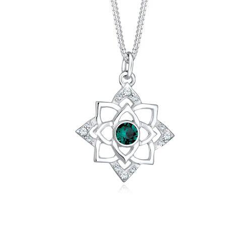 Elli Halskette Geburtsstein Lotus Kristalle 925 Silber Elli Grün