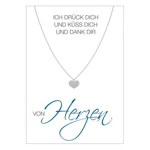 Herzkarte Collier Herzkarte Silberfarben