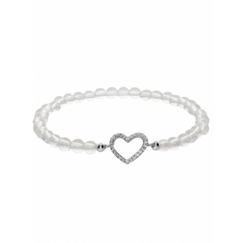 1001 Diamonds Herz Bergkristall Armband 925 Silber 17 cm 1001 Diamonds transparent