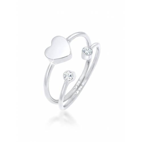 Elli Ring Herz Kristall Stabelring Set 925 Silber Elli Silber
