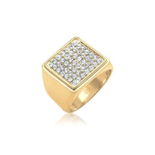 Elli Premium Ring Siegelring Geo Kristalle 925 Silber Elli Premium Gold