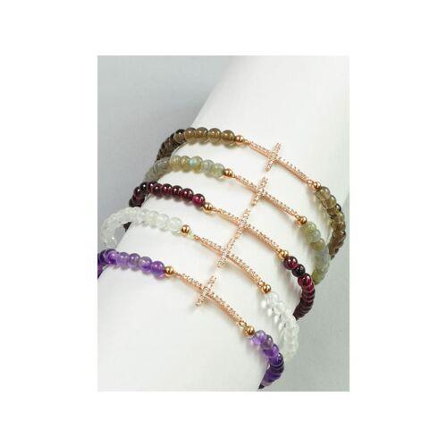 1001 Diamonds Bergkristall Armband Kreuz 925 rosé Silber 1001 Diamonds transparent
