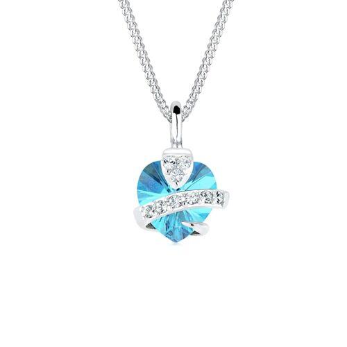 Elli Halskette Herz  Kristalle 925 Silber Elli Hellblau