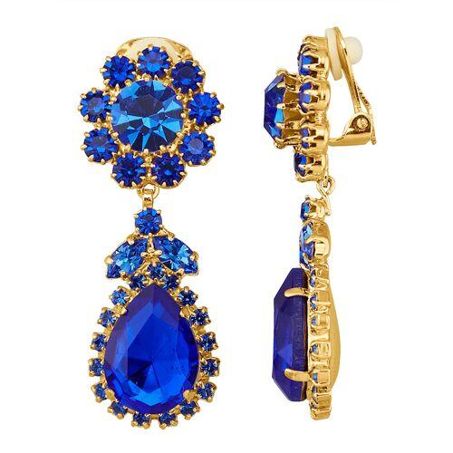 Golden Style Ohrclips mit blauen Kristallen Golden Style Blau