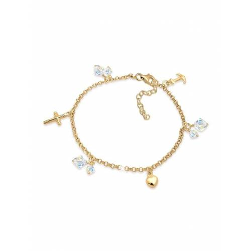 Elli Armband Kreuz Herz Anker Kristalle 925 Silber Elli Gold
