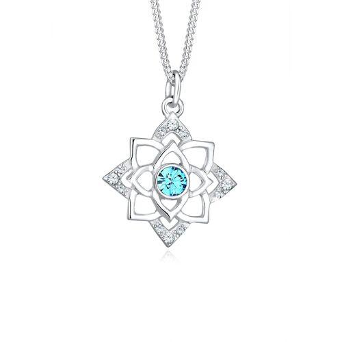 Elli Halskette Geburtsstein Lotus Kristalle 925 Silber Elli Türkis