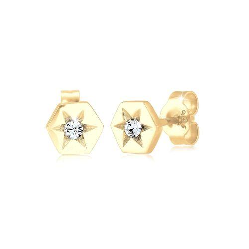 Elli Ohrringe Stern Hexagon Kristalle Sterling Silber Elli Gold