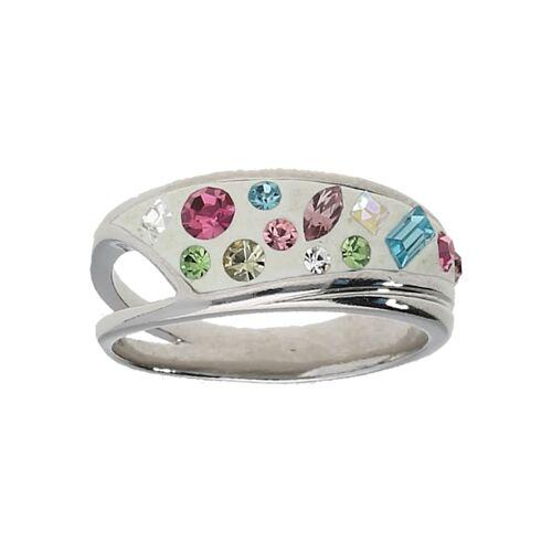 Smart Jewel Ring mit Kristallsteinen, Silber 925 Smart Jewel Bunt