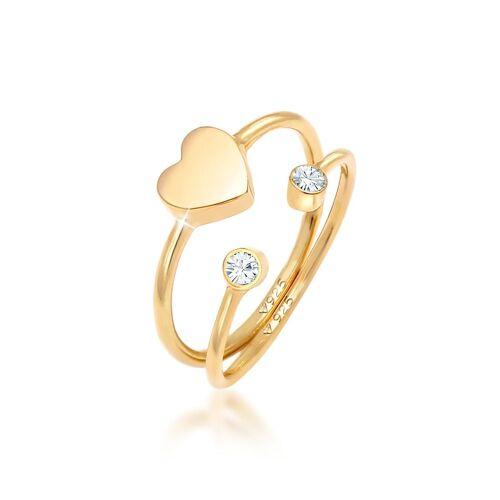 Elli Ring Herz Kristall Stabelring Set 925 Silber Elli Gold