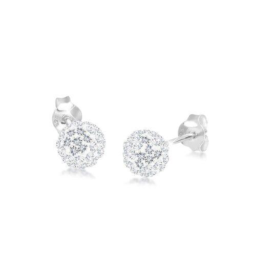 Elli Ohrringe Elegant Kugel Kristalle 925 Silber Elli Weiß