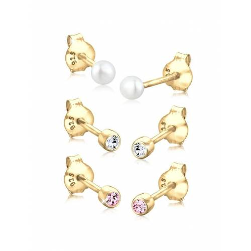 Elli Ohrringe Kugel Perle Set Kristalle 925 Silber Elli Gold