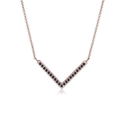 Elli Halskette V-Kette Kristalle 925 Silber Elli Schwarz