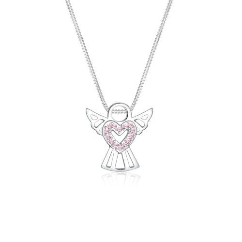Elli Halskette Engel Herz Kristalle 925 Silber Elli Rosa