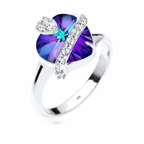 Elli Ring Herz Kristalle 925 Sterling Silber Elli Violett