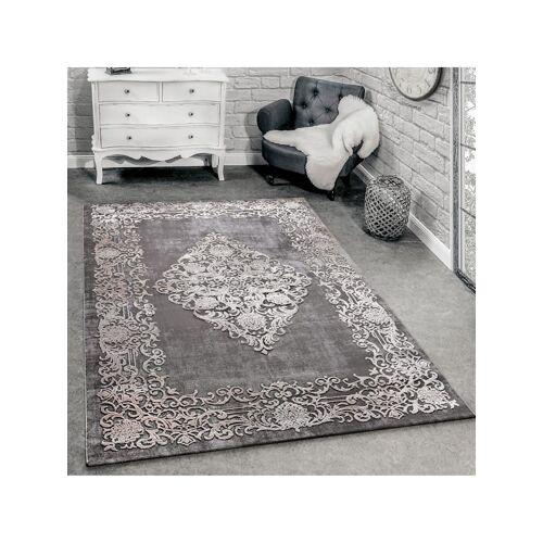 Paco Home Designer Teppich Modern Wohnzimmer Teppiche 3D Barock Muster In Grau Beige Creme Paco Home Grau