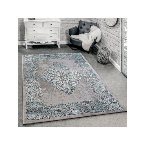 Paco Home Designer Teppich Modern Wohnzimmer Teppiche 3D Barock Muster In Grau Beige Creme Paco Home Grau-Blau