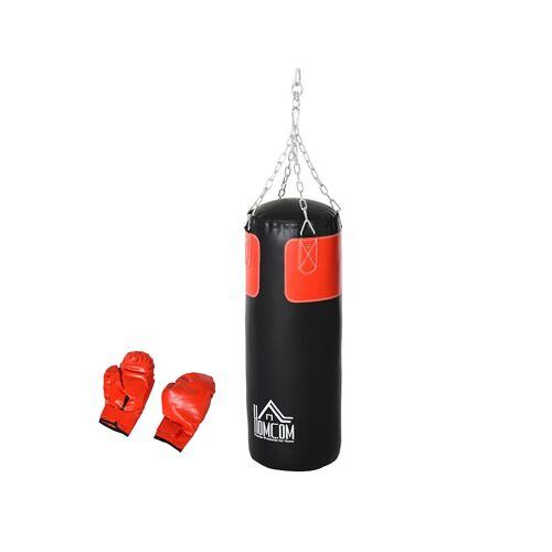 HOMCOM Boxsack mit Boxhandschuhen HOMCOM schwarz, rot