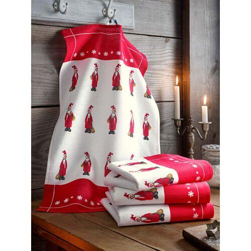 Kracht Geschirrtuch 'Weihnachtsmänner mit Mütze' im 4er-Pack Kracht Rot
