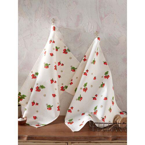 Kracht Geschirrtuch 'Erdbeere' im 2er-Pack Kracht Weiß::Rot