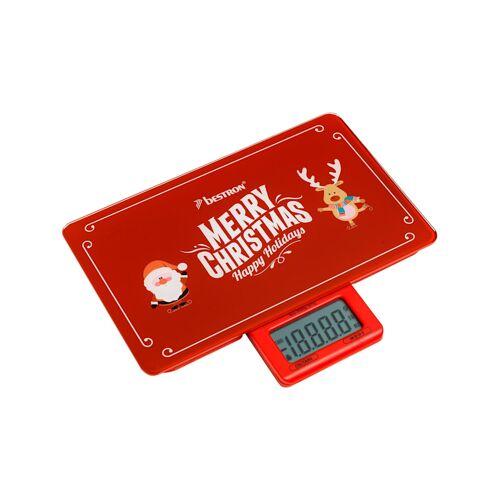"""Bestron Küchenwaage Küchenwaage AKS300C """"Merry Christmas"""" Bestron Rot"""