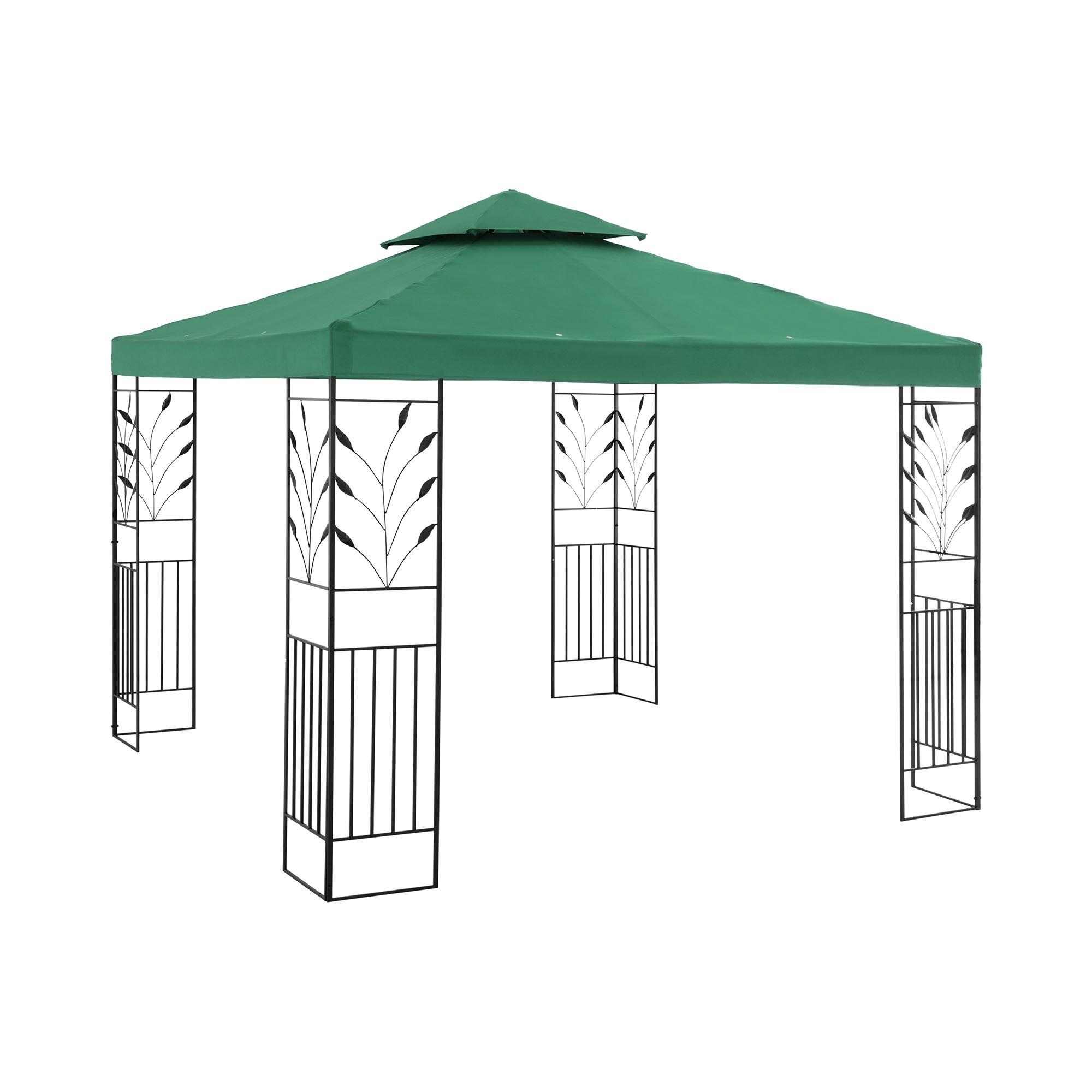 Uniprodo Gartenpavillon - 3 x 3 m - 180 g/m² - dunkelgrün UNI_PERGOLA_3X3G