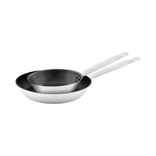 Royal Catering Edelstahlpfanne - 2 Stück - beschichtet - Ø 20 / 28 x 5 cm 10011446