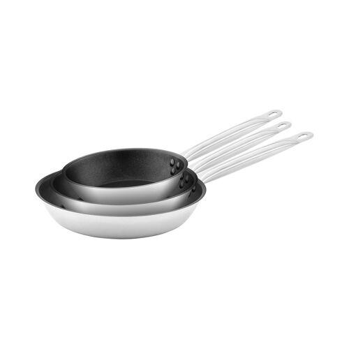 Royal Catering Edelstahlpfanne - 3 Stück - beschichtet - Ø 20 / 24 / 28 x 5 cm 10011447