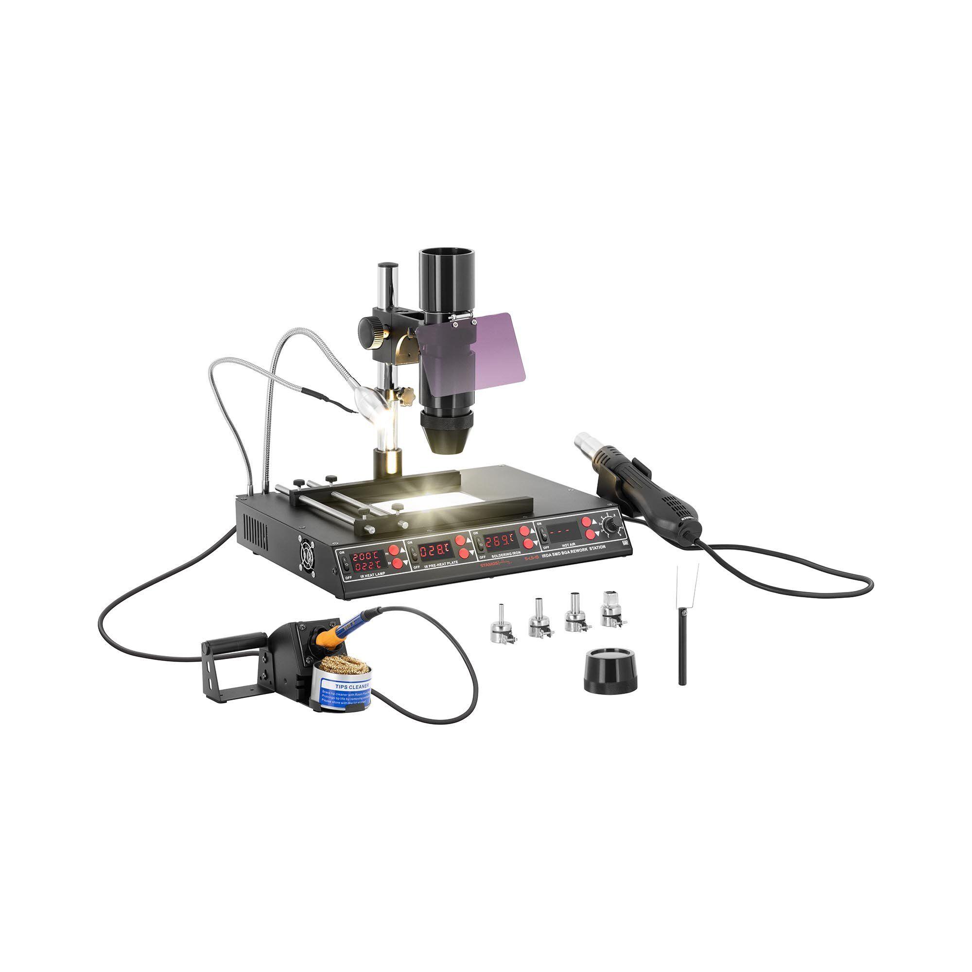 Stamos Soldering Lötstation mit Vorwärmplatte und Infrarotlampe - 1450W - 4 x LED - Basic 10021024