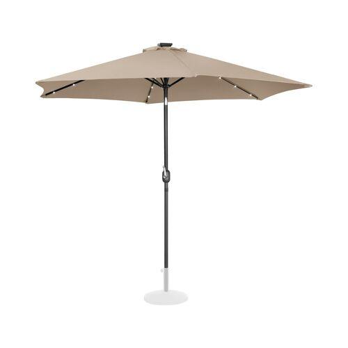 Uniprodo Sonnenschirm mit LED - creme - rund - Ø 300 cm - neigbar 10250122