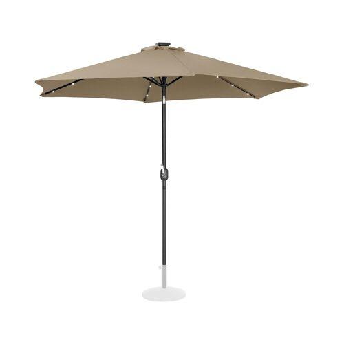 Uniprodo Sonnenschirm mit LED - taupe - rund - Ø 300 cm - neigbar 10250123