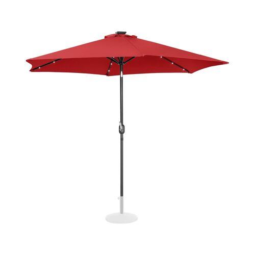 Uniprodo Sonnenschirm mit LED - rot - rund - Ø 300 cm - neigbar 10250125