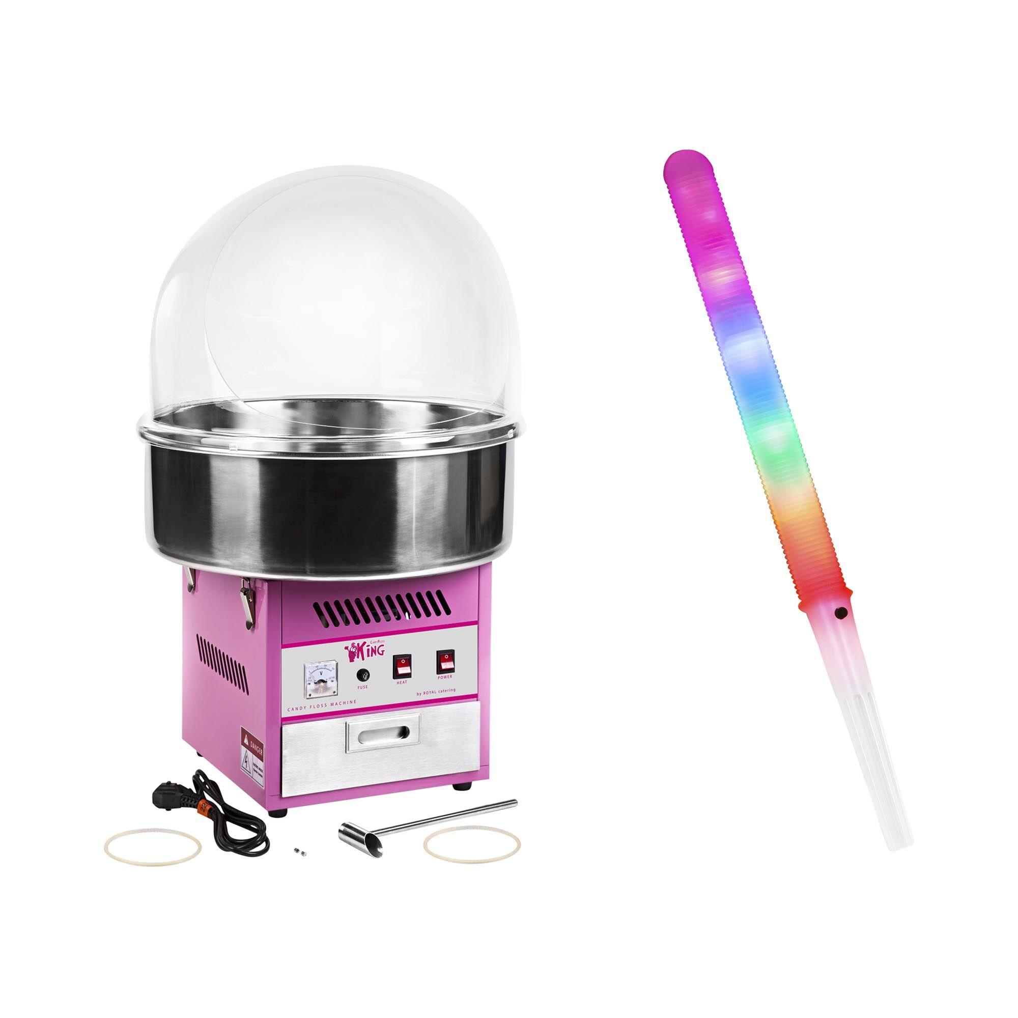 Royal Catering Zuckerwattemaschine Set mit Zuckerwattestäbchen LED - 52 cm - 1.200 W - Spuckschutz - 50 Stk. 18000321