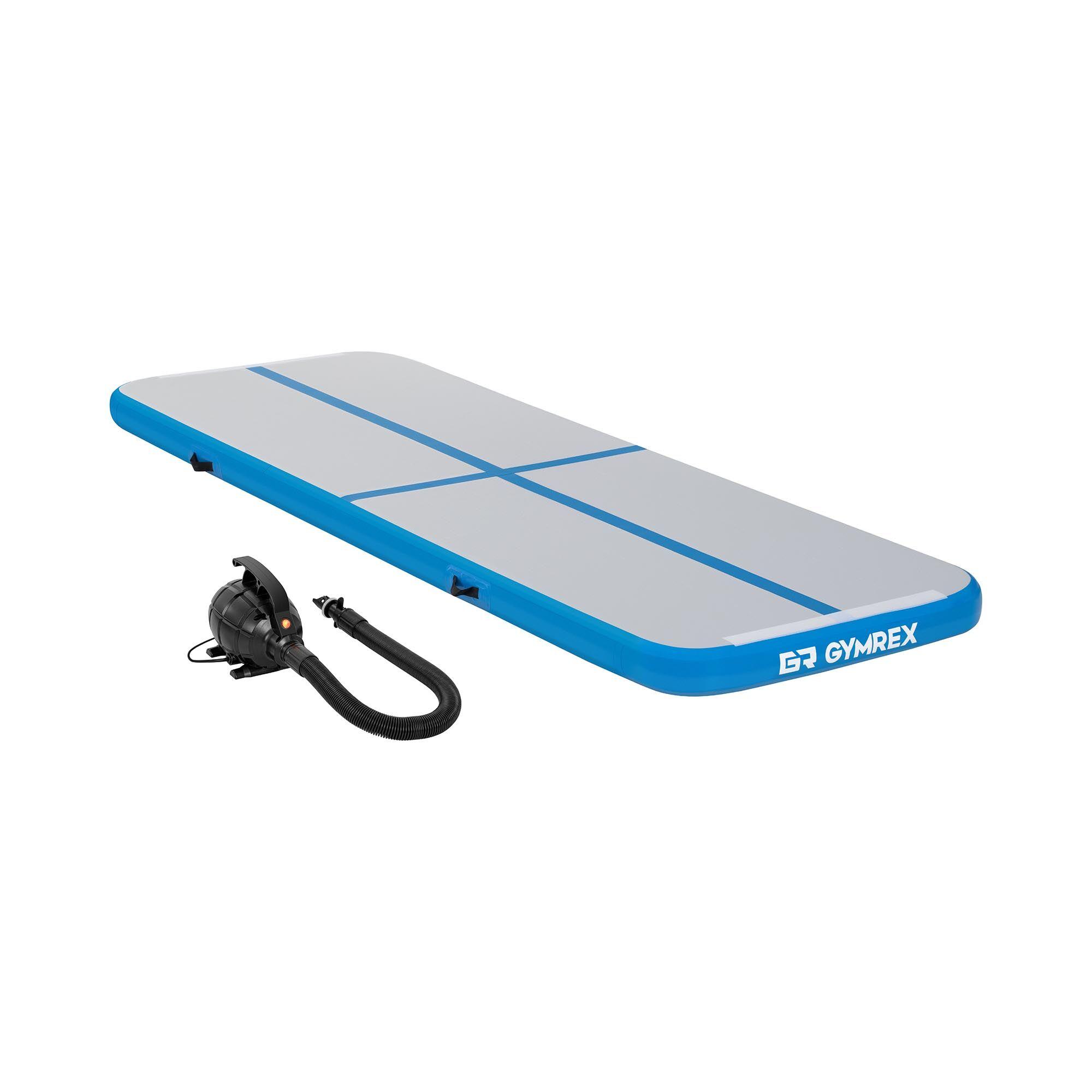 Gymrex Set Aufblasbare Turnmatte - Airtrack inklusive Luftpumpe - 300 x 100 x 10 cm - 150 kg - blau/grau GR-ATM1-SET