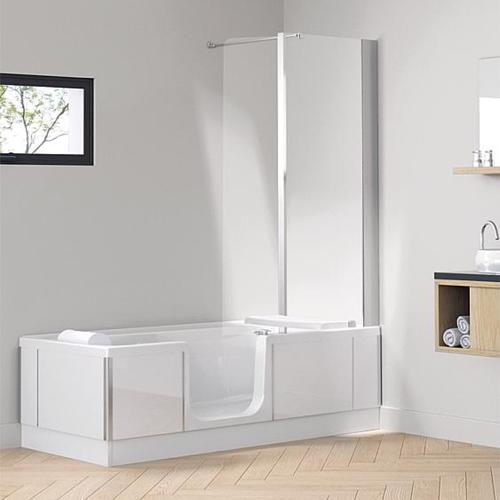 SFA SaniBroy SFA Badewanne Duo-Eck mit Duschbereich 160x59x75 cm, Duschbereich links, Glas schwarz