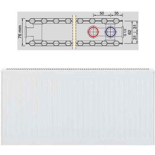 Viessmann Universalheizkörper Typ 20 zweireihig ohne Konvektor BH 500mm, BL 400mm