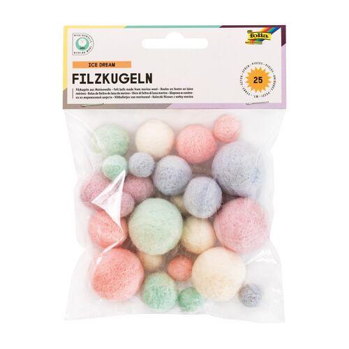 Persen Verlag Filzkugeln, 3 Größen, 25 Stück - Ice Dream