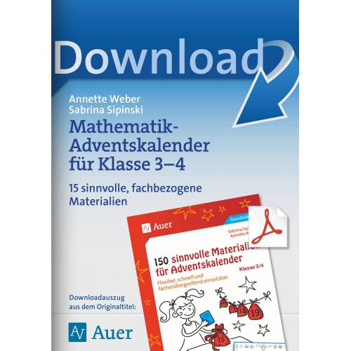 Auer Verlag Mathematik-Adventskalender für Klasse 3-4