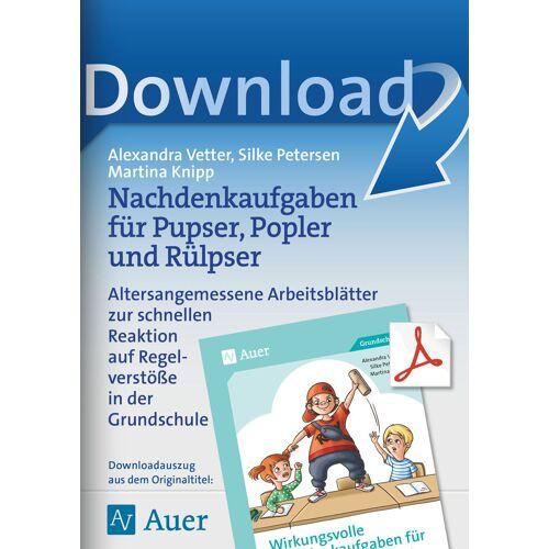 Auer Verlag Nachdenkaufgaben für Pupser, Popler und Rülpser