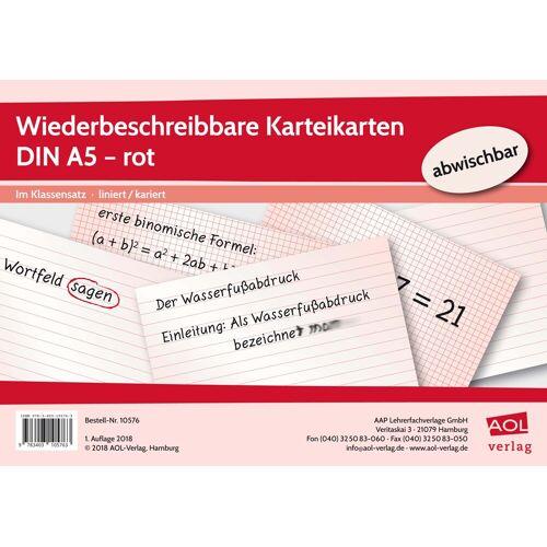 AOL-Verlag Wiederbeschreibbare Karteikarten DIN A5 - rot