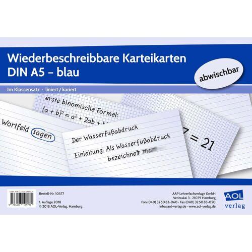AOL-Verlag Wiederbeschreibbare Karteikarten DIN A5 - blau
