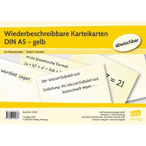 AOL-Verlag Wiederbeschreibbare Karteikarten DIN A5 - gelb