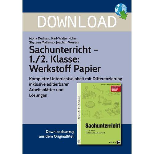 Persen Verlag Sachunterricht - 1./2. Klasse: Werkstoff Papier