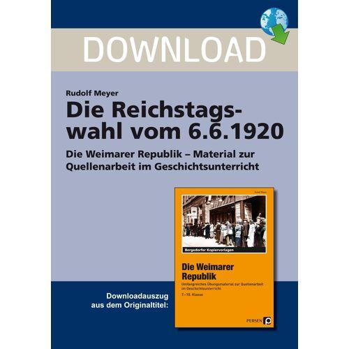 Persen Verlag Die Reichstagswahl vom 6.6.1920