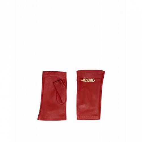 Moschino Fingerlose Lederhandschuhe Mit Mini-lettering Logo