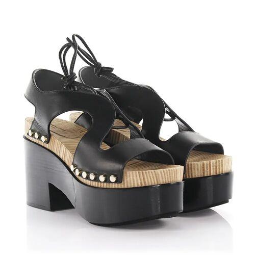 Balenciaga Sandalen Clogs Plateau Leder schwarz Nieten