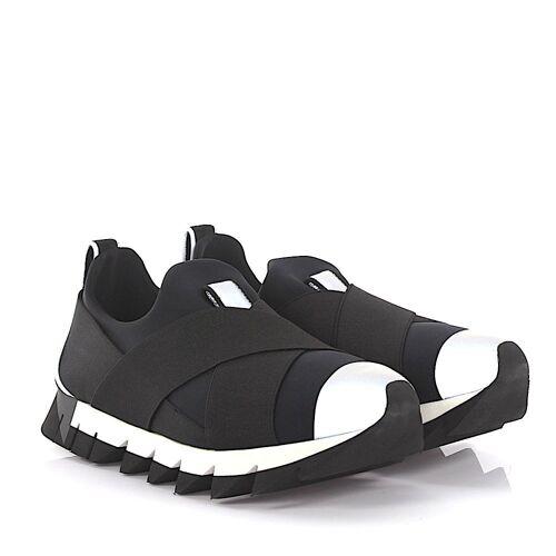 Dolce & Gabbana Sneakers Stoff Stretchband schwarz grau